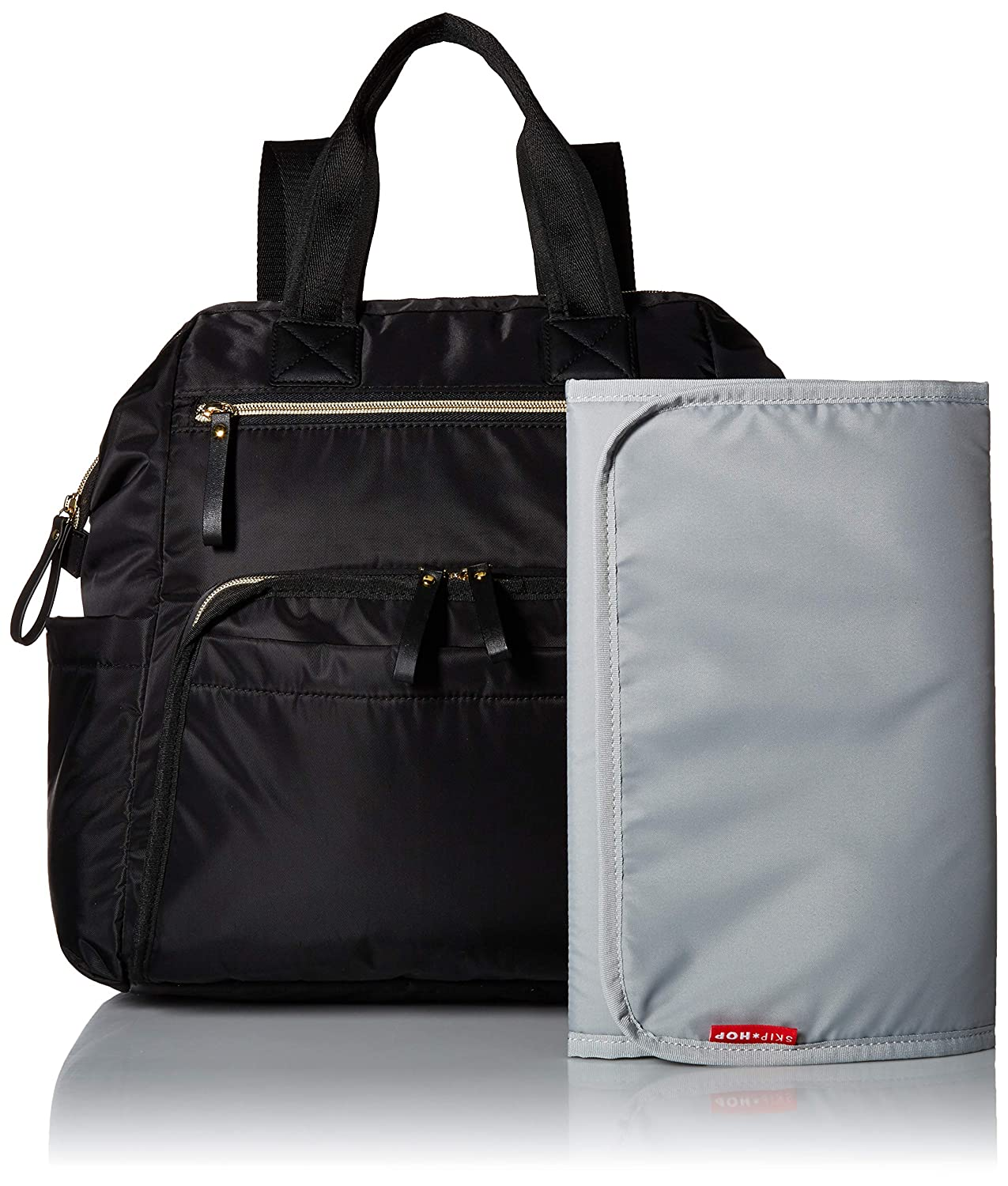 6cace3e53cdc01 Amazon.com : Skip Hop Diaper Bag Backpack, Mainframe Large Capacity Wide  Open Structure, Black with Gold Trim : Baby