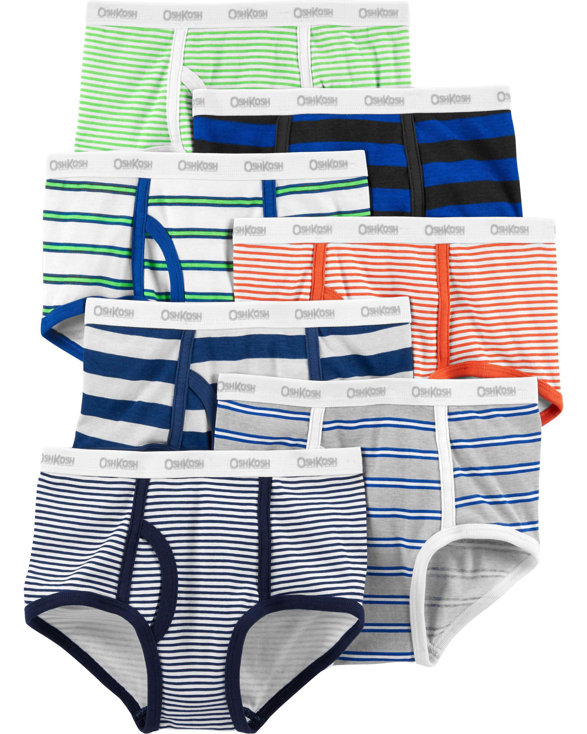Carter's Big Boys' 7-Pack Cotton Briefs (4-5T, Rainbow Stripes(35183011)/Orange/Green)