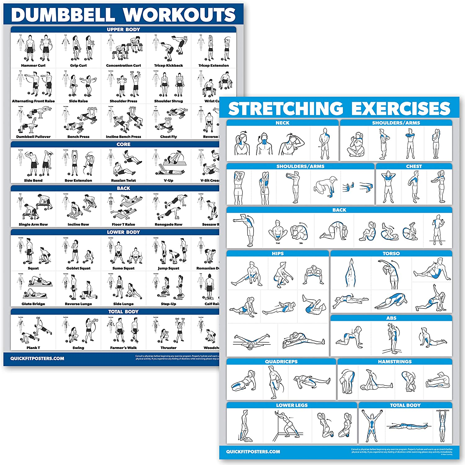 QuickFit Dumbbell Workouts and Stretching Exercise Poster Set - Laminated 2 Chart Set - Dumbbell Exercise Routine & Stretching Workouts