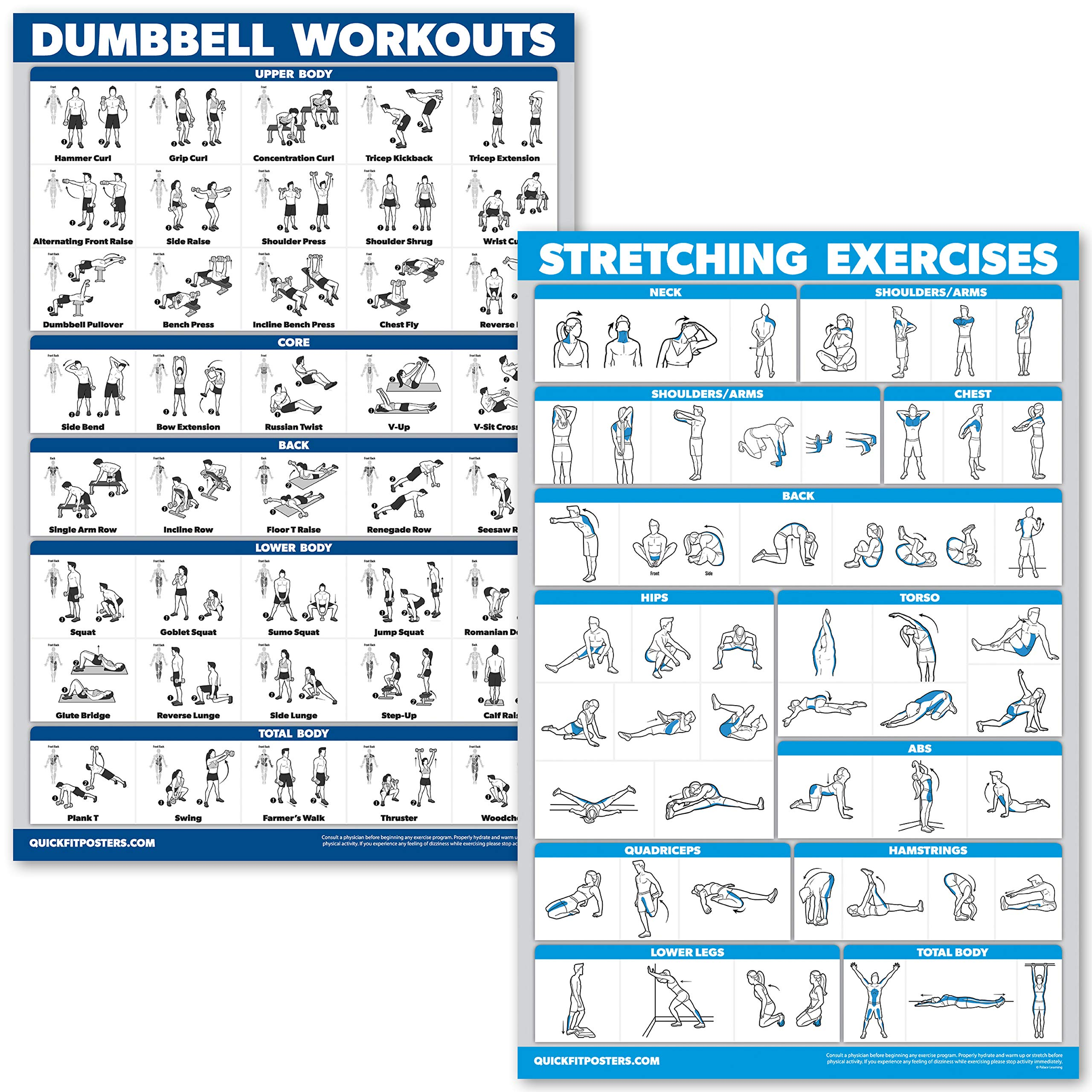 QuickFit Dumbbell Workouts and Stretching Exercise Poster Set – Laminated 2 Chart Set – Dumbbell Exercise Routine…