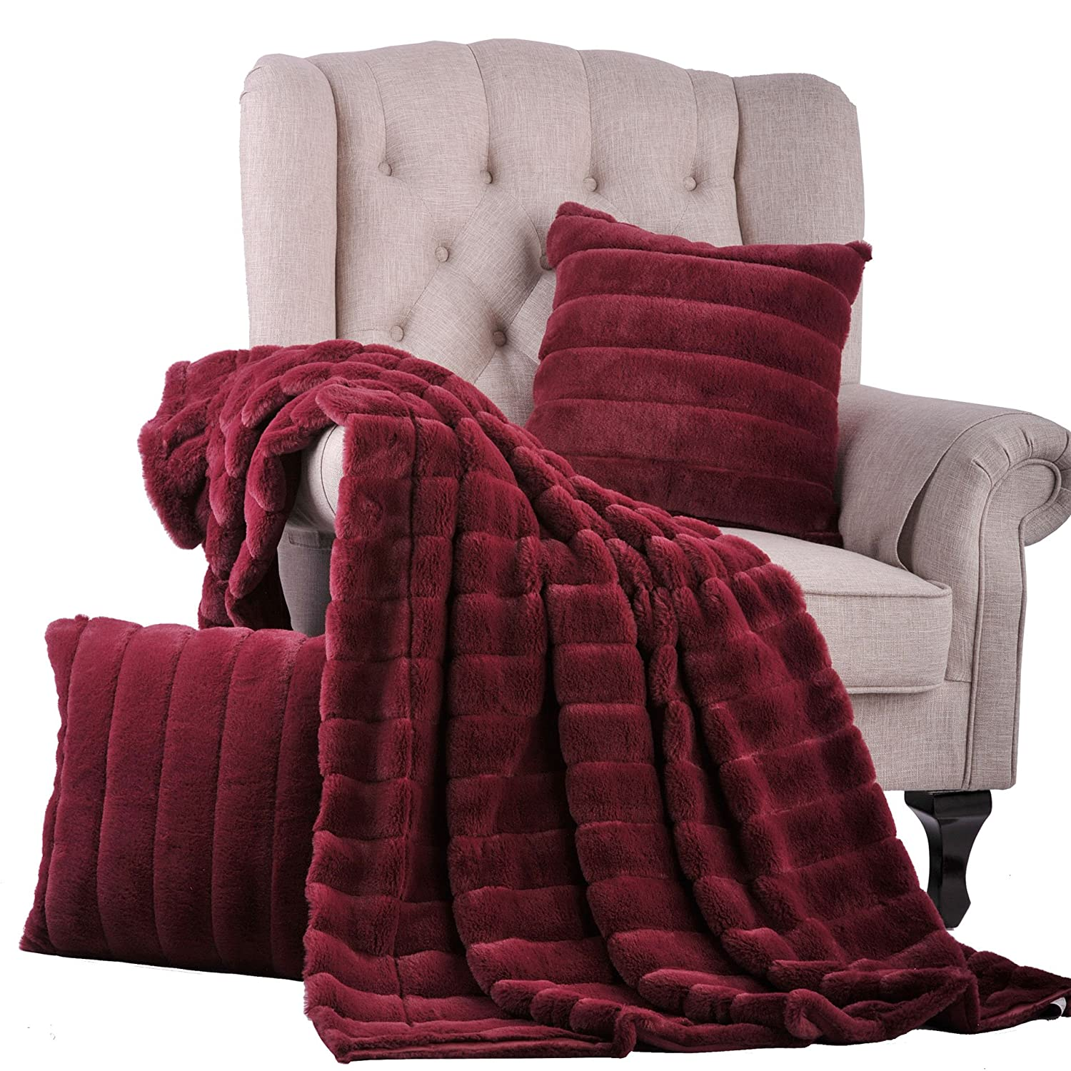 Burgundy 60 x 80 BNF Home 60 x 80 Home Soft Things Boon Rabbit Fur Throw with 2 Pillow Combo Set