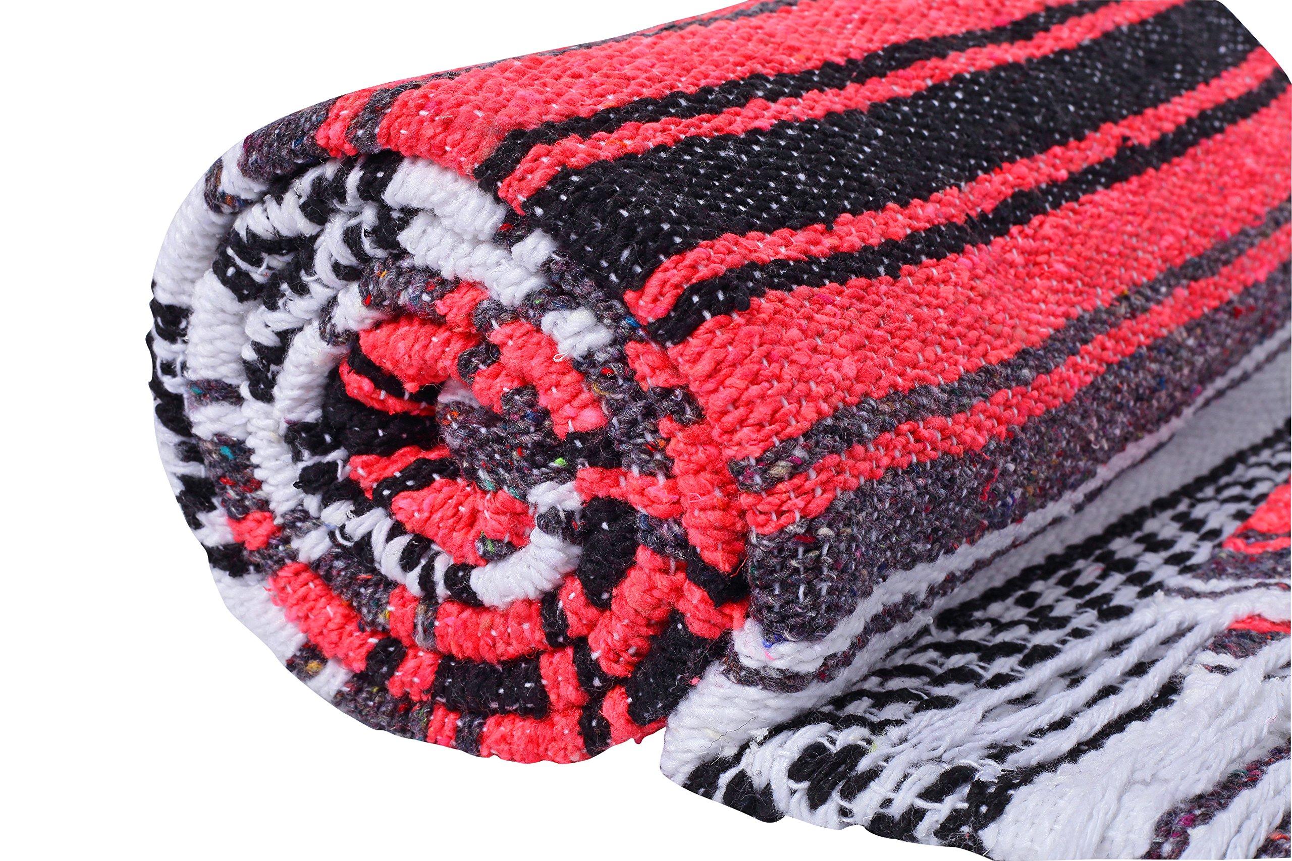 El Paso Designs Genuine Mexican Falsa Blanket - Yoga Studio Blanket, Colorful, Soft Woven Serape Imported from Mexico (Bright Coral) by El Paso Designs (Image #7)