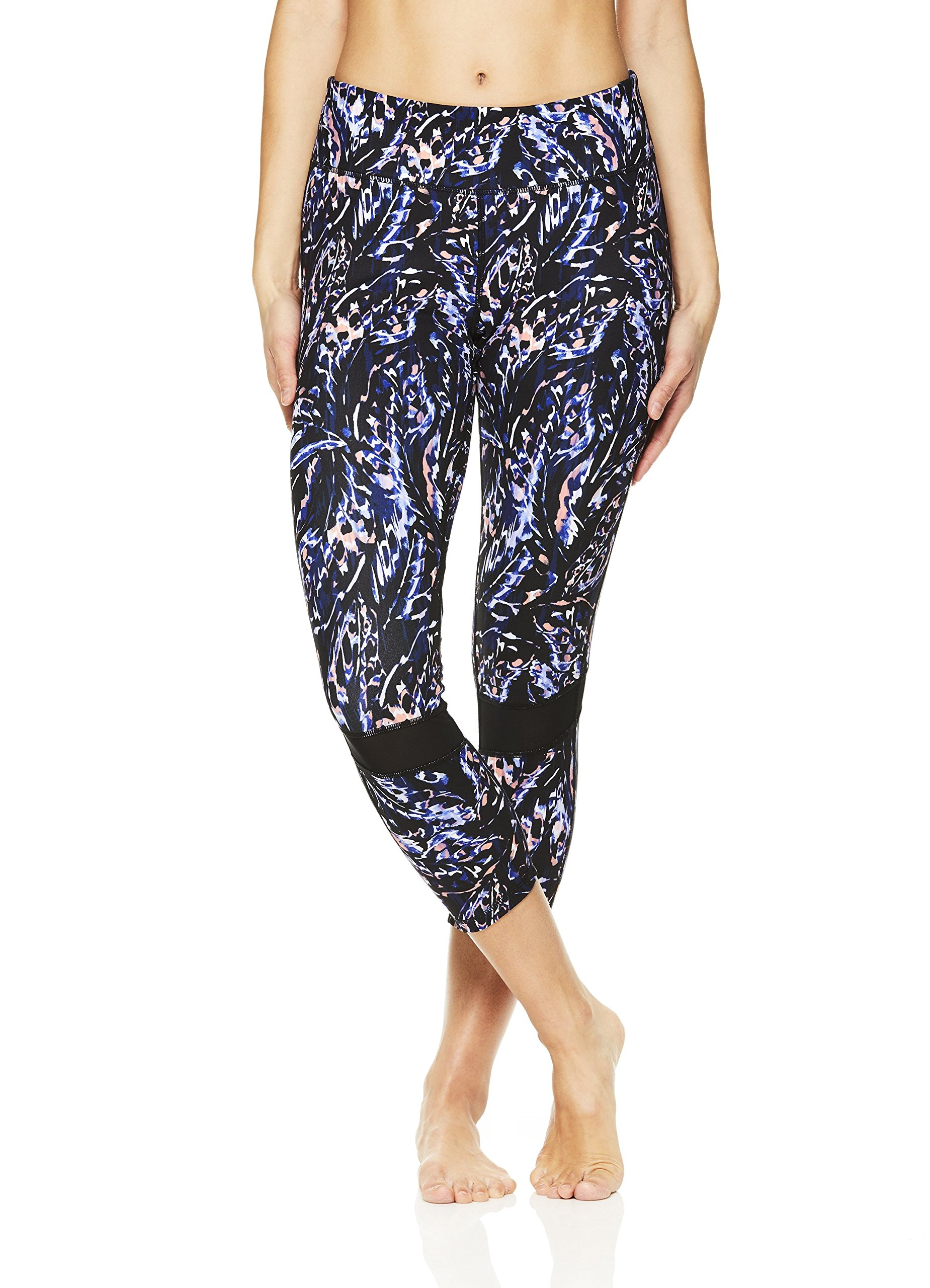 Gaiam Women's Capri Yoga Pants - Performance Spandex Compression Legging - Black (Tap Shoe), X-Small