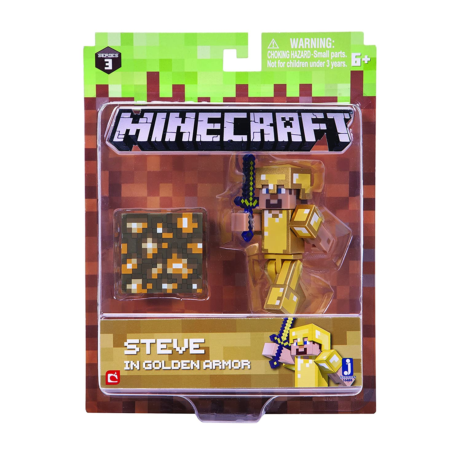 Minecraft 164887, 6cm Action Figure–Steve in Gold Armour Pack Jazwares Ind