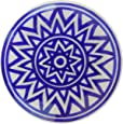 Aditya Blue Art Pottery Ceramic Decorative Wall Hanging Handmade Plate (15 cm x 15 cm x 3 cm, Blue)
