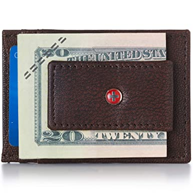7c7b32c11c63 Alpine Swiss Mens Wallet Leather Money Clip Thin Slim Front Pocket ...