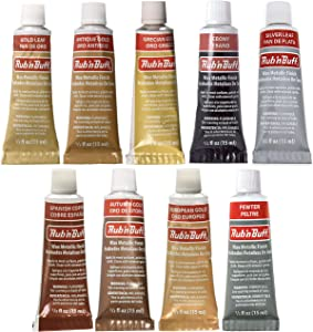 Amaco Rub 'N Buff Wax Metallic Finish, 9 Color Assortment (Gold Leaf, Antique Gold, Grecian Gold, Ebony, Silver Leaf, Spanish Copper, Autumn Gold, European Gold, Pewter)