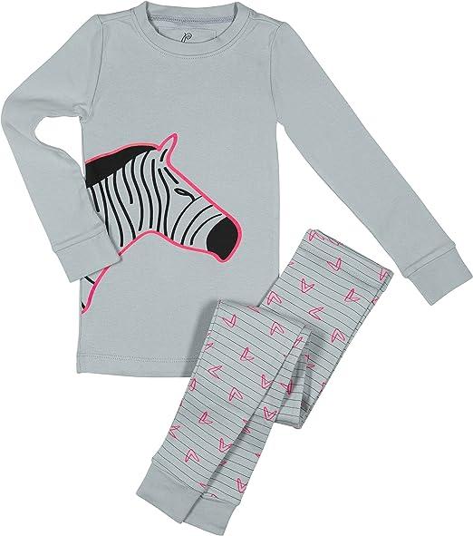 Carters Girls Fleece Pajamas 3T 5T Zebra Animal Print Long Sleeve Top Pants