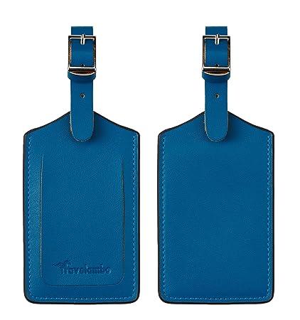 707141658603 Travelambo Leather Luggage Bag Tags (Blue 6269 Steel Blue)