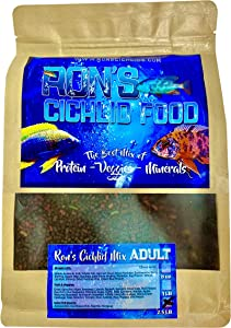 Ron'S Adult Peacock, Hap & Cichlid Food | Adult Cichlid Pellets with Protein, Veggies, Fruit & Mineral | Leading to Healthier, Brighter & More Robust African Cichlids | Cichlid Pellets 1.5-4mm (8oz)