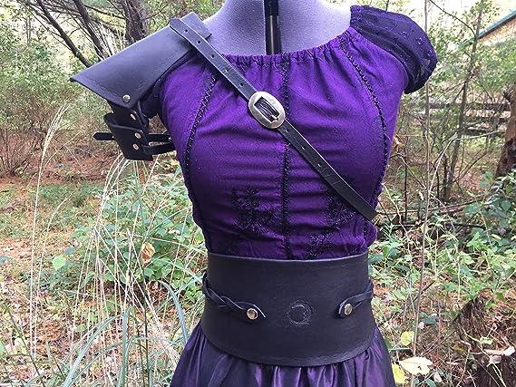 Black Leather Women's Shoulder Armor Pauldron