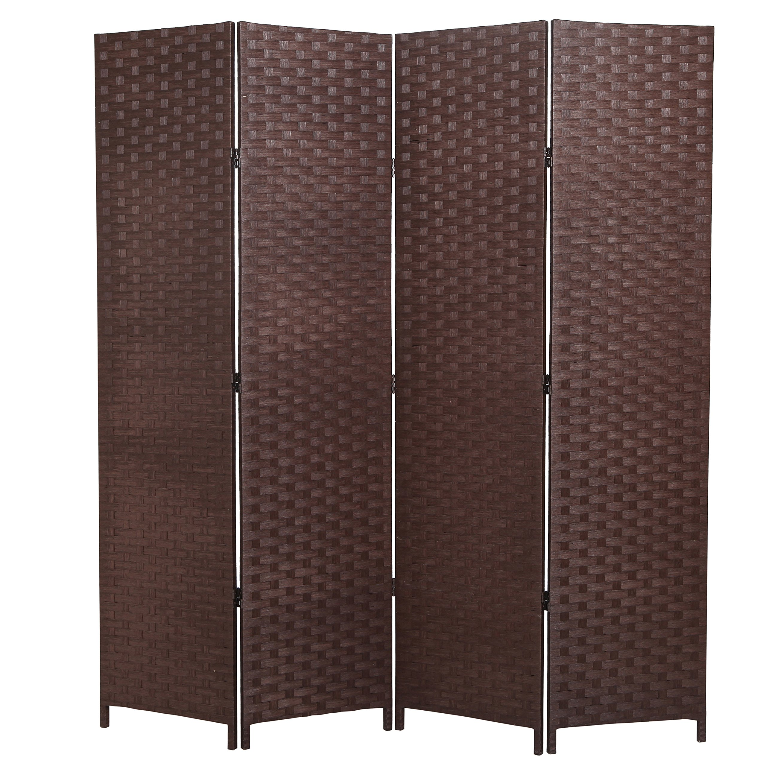 MyGift Wood 4-Panel Room Divider, Seagrass Woven Privacy Screen, Brown
