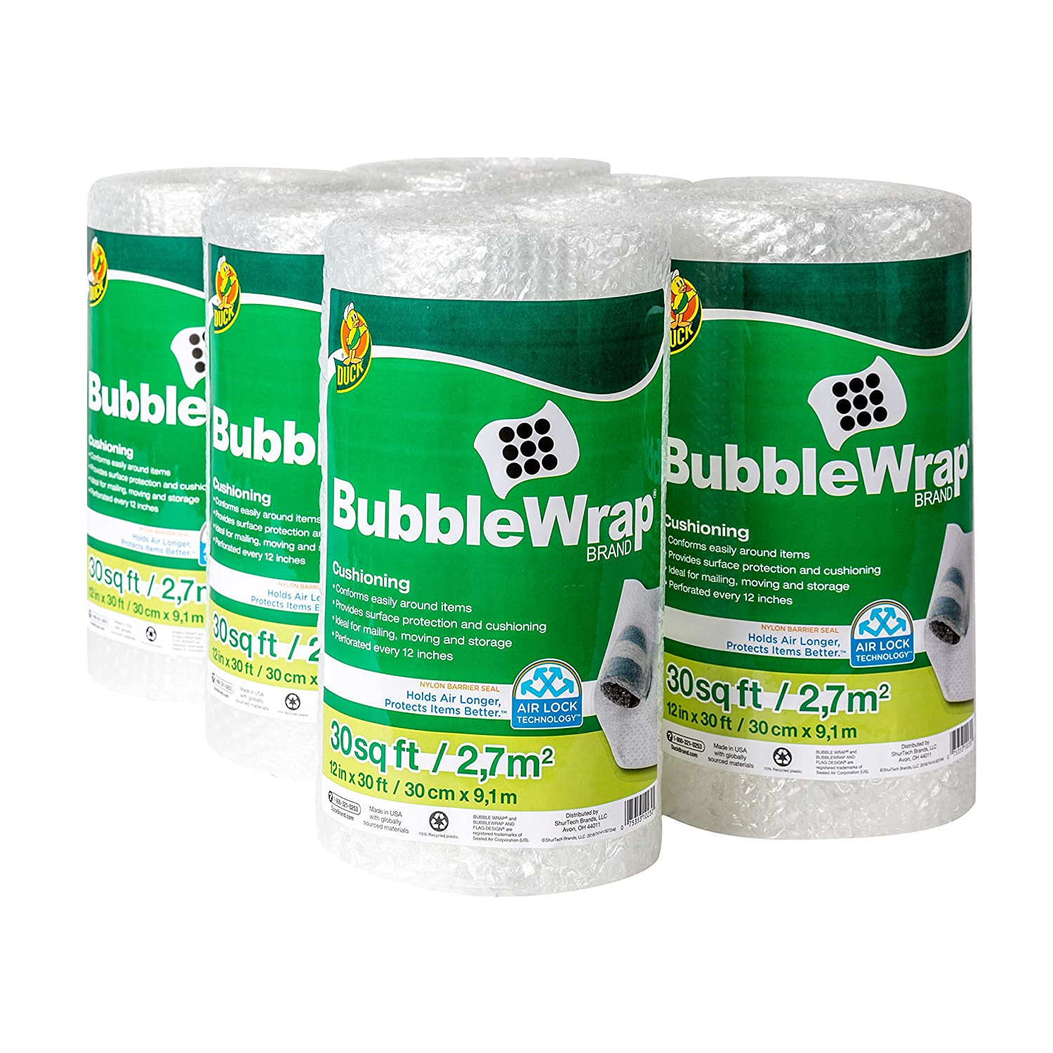 """Duck Brand Bubble Wrap Roll, Original Bubble Cushioning, 12"""" x 180', Perforated Every 12"""""""