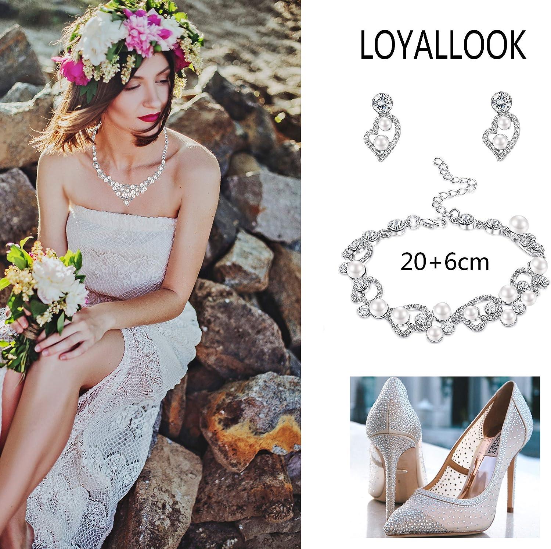 Milacolato Silver-Tone Cristal Perle Parure Bijoux Femmes dhonneur Strass Collier Ensemble Bracelet Dangle Boucles doreilles De Mariage De Bal Parures