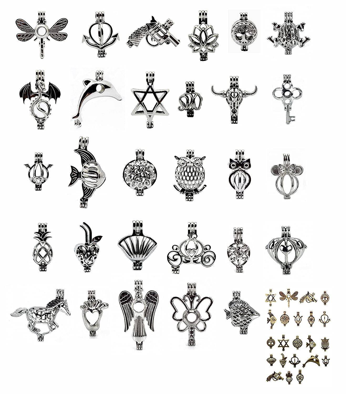 10PCS Mix Jewelry Making Supplies Silver Gold Plated Bead Cage Pendant - Add Your Own Pearls, Stones, Rock to Cage,Add Perfume Essential Oils to Create a Scent Diffusing Pendant Charms … DAYONE JEWELRY LTD 1017SOWZQJQ