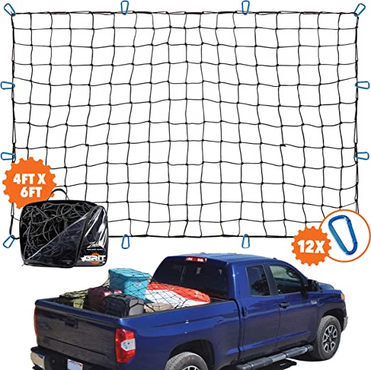 64 x 50 Pandaorv Rugged Truck Bed Cargo Net Heavy Duty Cargo Nets for Pickup Trucks with Cam Buckles /& S-Hooks