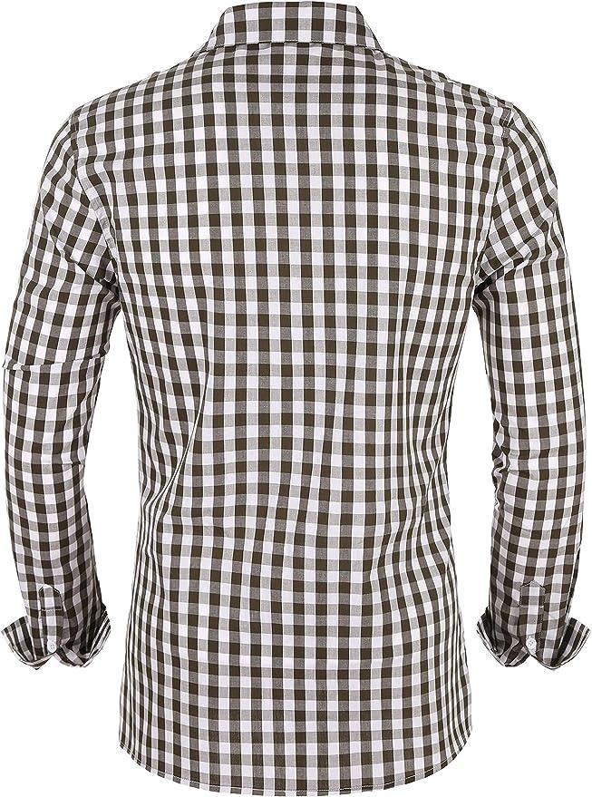 MAROJO Camisa de hombre a cuadros de manga larga ajustada de algodón, estilo informal a cuadros