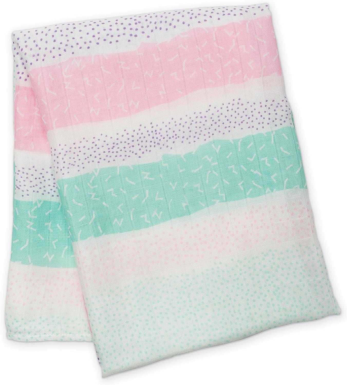 Lulujo 0628233451293 Baby Bamboo Muslin Silky Soft Swaddling Blanket Pink Spotted