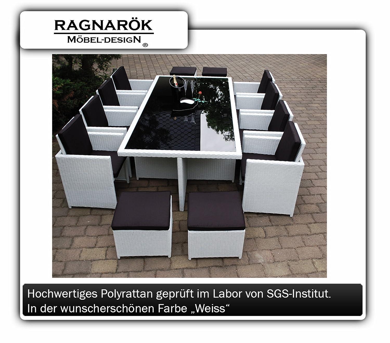 PolyRattan Essgruppe DEUTSCHE MARKE -- EIGNENE PRODUKTION Tisch + 8x Stuhl & 4x Hocker 7 Jahre GARANTIE Garten Möbel incl. Glas und Sitzkissen Ragnarök-Möbeldesign (weiß) Gartenmöbel