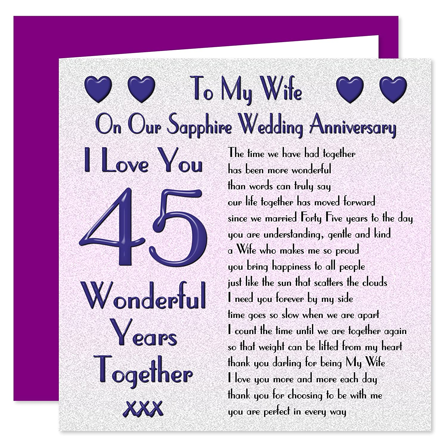 On Our Sapphire Anniversary My Wife 45th Wedding Anniversary Card Sentimental Verse I Love You 45 Years