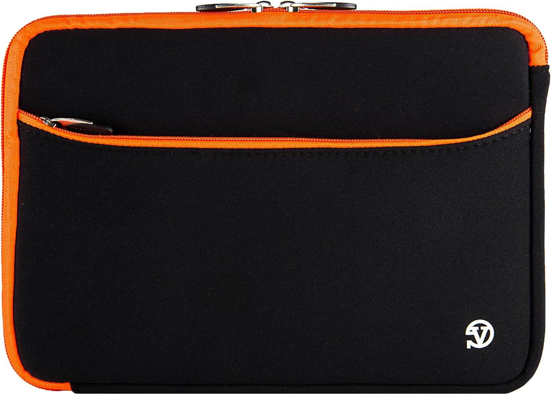 Vangoddy UltraPortable Carrying Case Neoprene Sleeve Black, Orange Trim for HP 17 inch Laptop Notebook