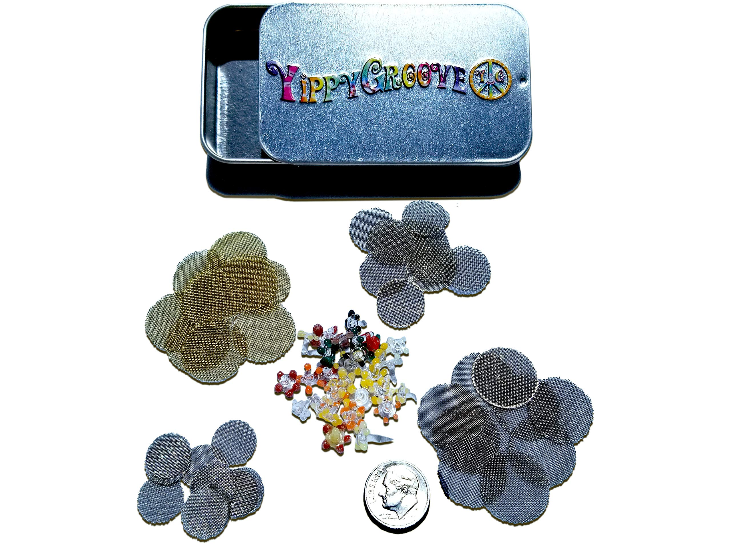 The Pipe Screen Assorted Sizes ComboPak Made in The USA Metal (Brass 3/4'', Stainless 1/2'', 5/8'', 3/4'') Plus 25 Glass Daisies All in a YippyGroove StashTin-for a More Enjoyable, Ash-Free Smoke (Combo) by YippyGroove