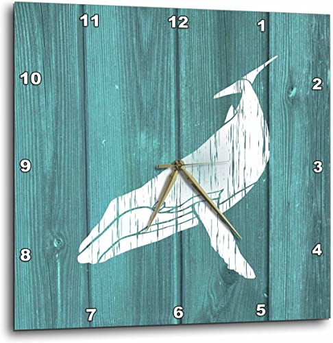 3dRose 3D Rose Humpback Whale Stencil in Faded White Paint Over Teal-not Real Wood-Wall Clock, 13-inch DPP_220427_2