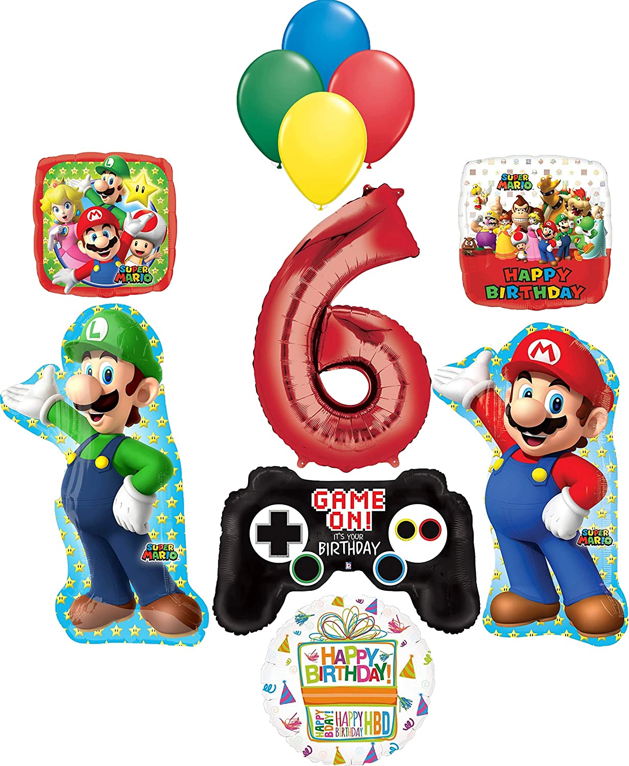 Amazon Com Super Mario Brothers Party Supplies 6th Birthday Balloon Bouquet Decorations Toys Games