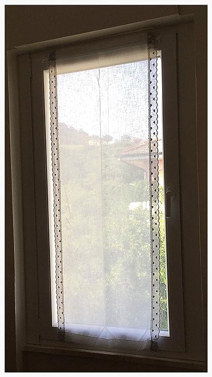 Coppia di tende a vetro shabby chic finestre pannelli misto lino ...