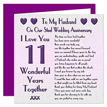 My husband 11th wedding anniversary card on our steel anniversary my husband 11th wedding anniversary card on our steel anniversary 11 years sentimental m4hsunfo