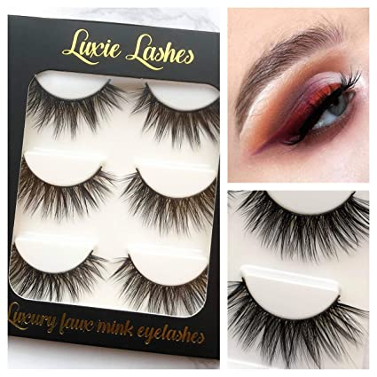 LUXIE LASHES 3D Luxury Fluffy Faux Mink Tira natural Fake pestañas largas Multipack - Paquete de