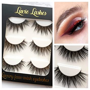 7001e5c0971 LUXIE LASHES 3D Luxury Curly Wispy Faux Mink Volume Silky Long Fake  Eyelashes Multipack - 3