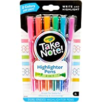 Crayola Take Note Highlighter Pens! 6 Double Ended Highlighters perfect for writing and highlighting to make notes stand…