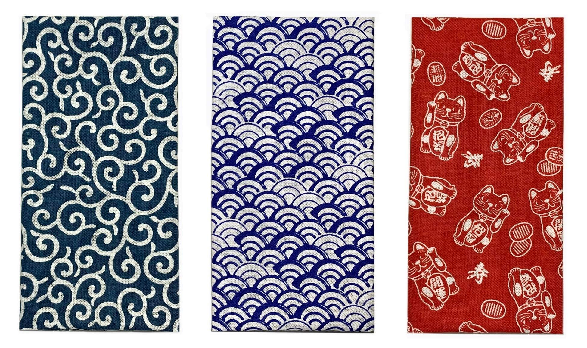 Made in Japan Komon Tenugui Towel 3 Type Set(Karakusa,Blue Waves, Maneki Neko)