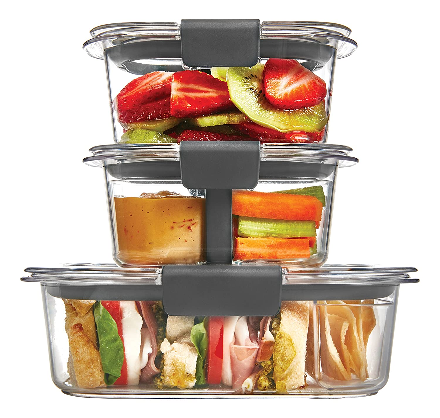 Rubbermaid Brilliance Food Storage Container, 10 Piece Sandwich/Snack Lunch Kit, 100 Percents Leak Proof, Plastic, Clear by Rubbermaid