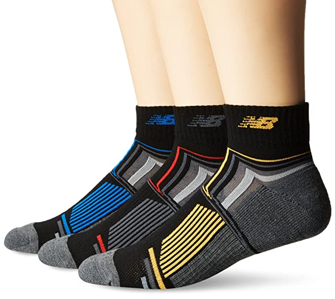 7c299872504ab New Balance Men's Performance Ankle Socks (3 Pack), Black/Blue/Yellow