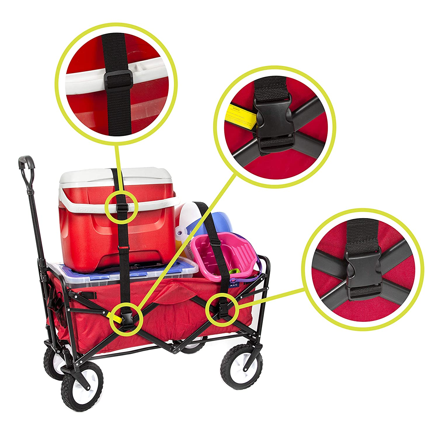 Mac Sports Collapsible Folding Outdoor Utility Wagon Straps Only, Black