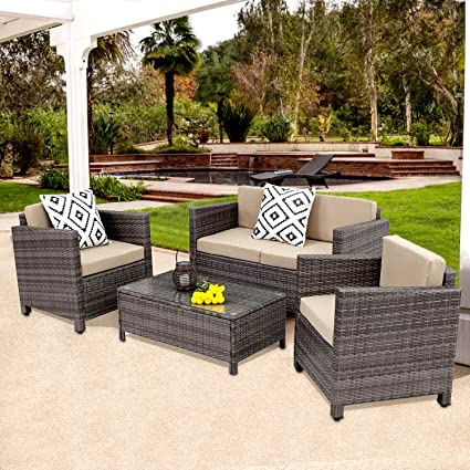 Amazon.com: Wisteria Lane Outdoor Patio Furniture Set, 5 Piece ...