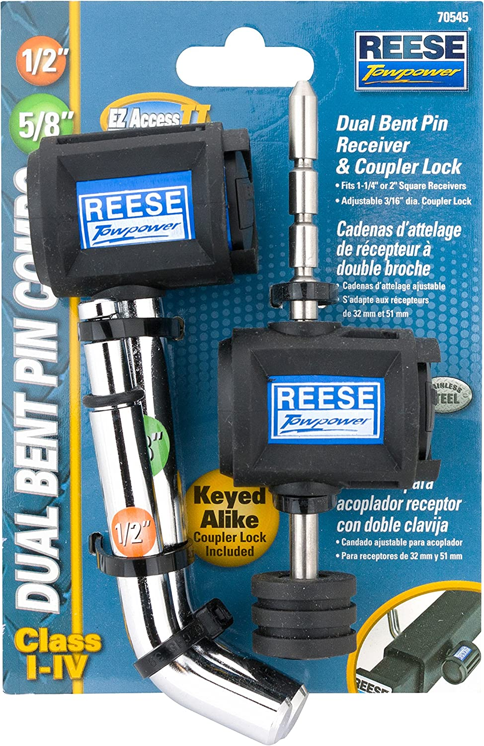 5//8 and 1//2 Reese Towpower 7054530 EZ Access II Stainless Steel Class I-IV Dual Bent Pin Receiver and Coupler Lock