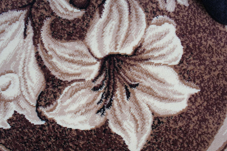 Karatcarpet Moderner Oval Teppich Kurzflor Kollektion Kollektion Kollektion Gold ov365 12 Hell Braun, Muster  Bordüre, Blumen. (150 x 230 cm) ddeca2