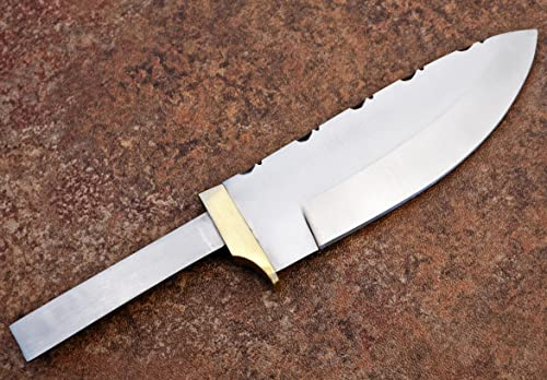Whole Earth Supply Drop Point D2 D-2 Steel Partial Hidden Tang Knife Blank Brass Finger Guard for Custom Making Knives Blade Blades Blanks Hunting