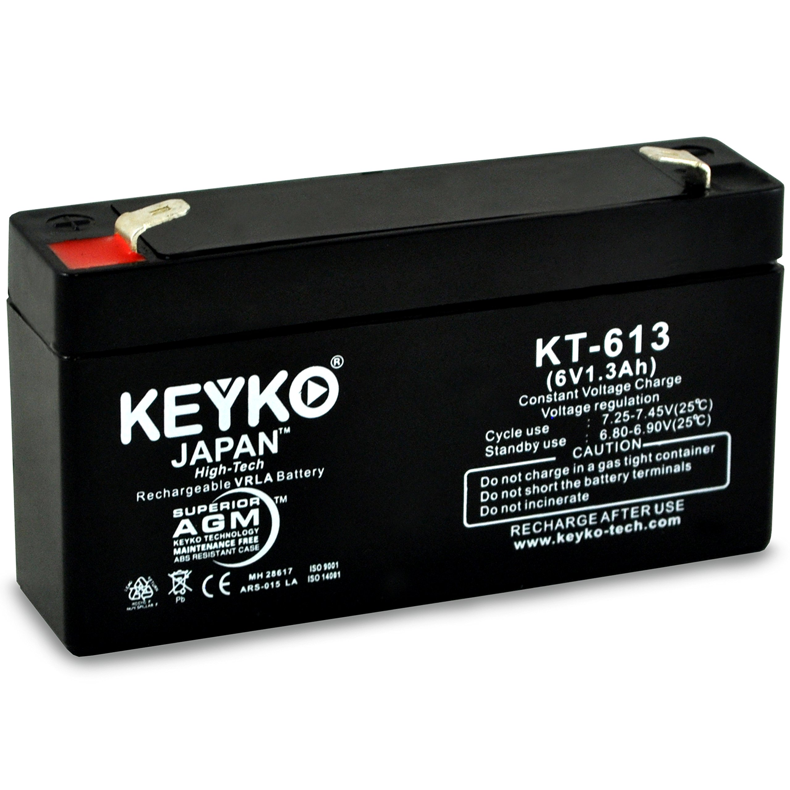 Abbott Laboratories 41234 Cardiac Output Computer 6V 1.3Ah SLA Sealed Lead Acid AGM Rechargeable Replacement Battery Genuine KEYKO F1 Terminal