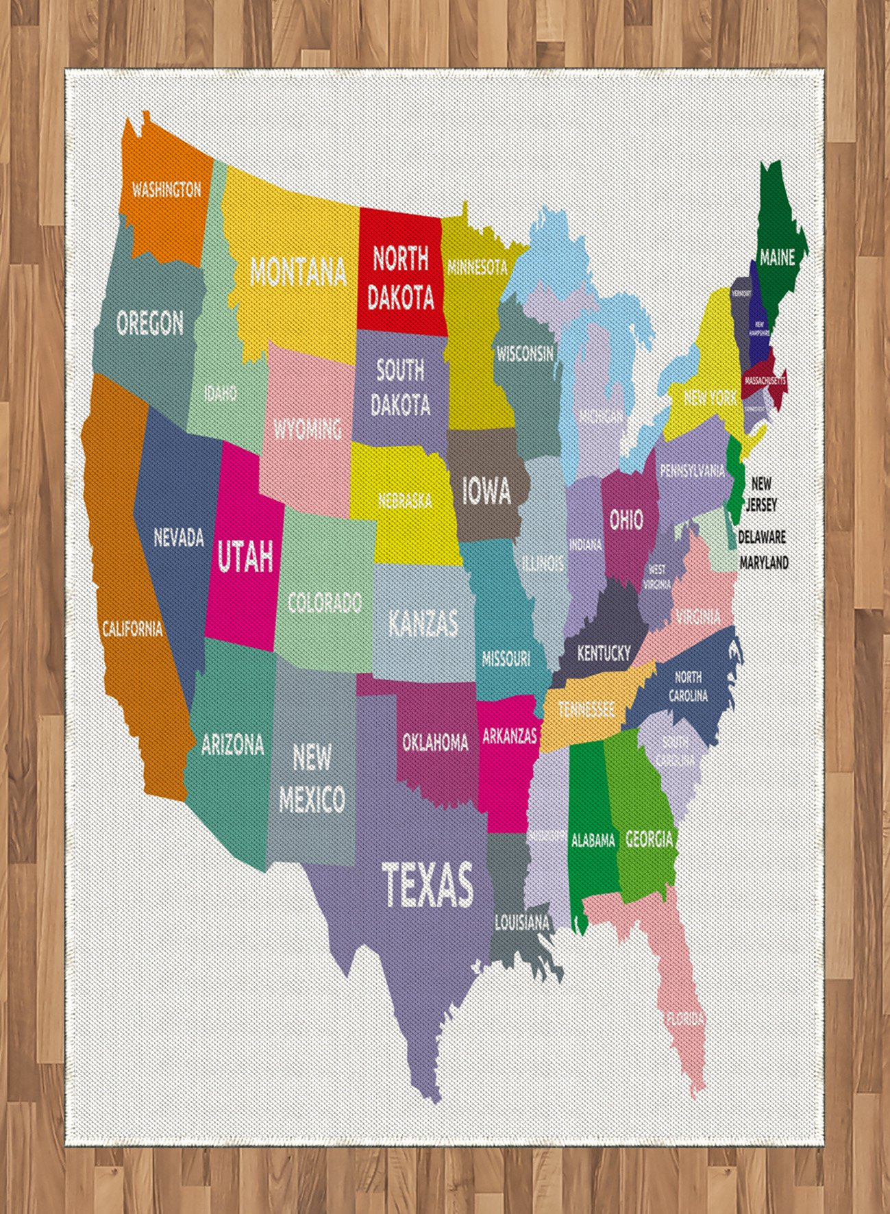 Map Area Rug by Ambesonne, USA Map with Name of States in Different Colors America Geography Cartography Theme, Flat Woven Accent Rug for Living Room Bedroom Dining Room, 5.2 x 7.5 FT, Multicolor by Ambesonne