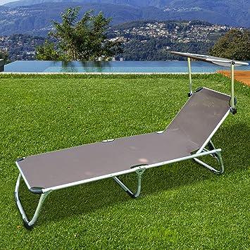 chaise longue transat bain de soleil pliant avec pare soleil en aluminium chocolat neuf 39 - Chaise Longue Transat