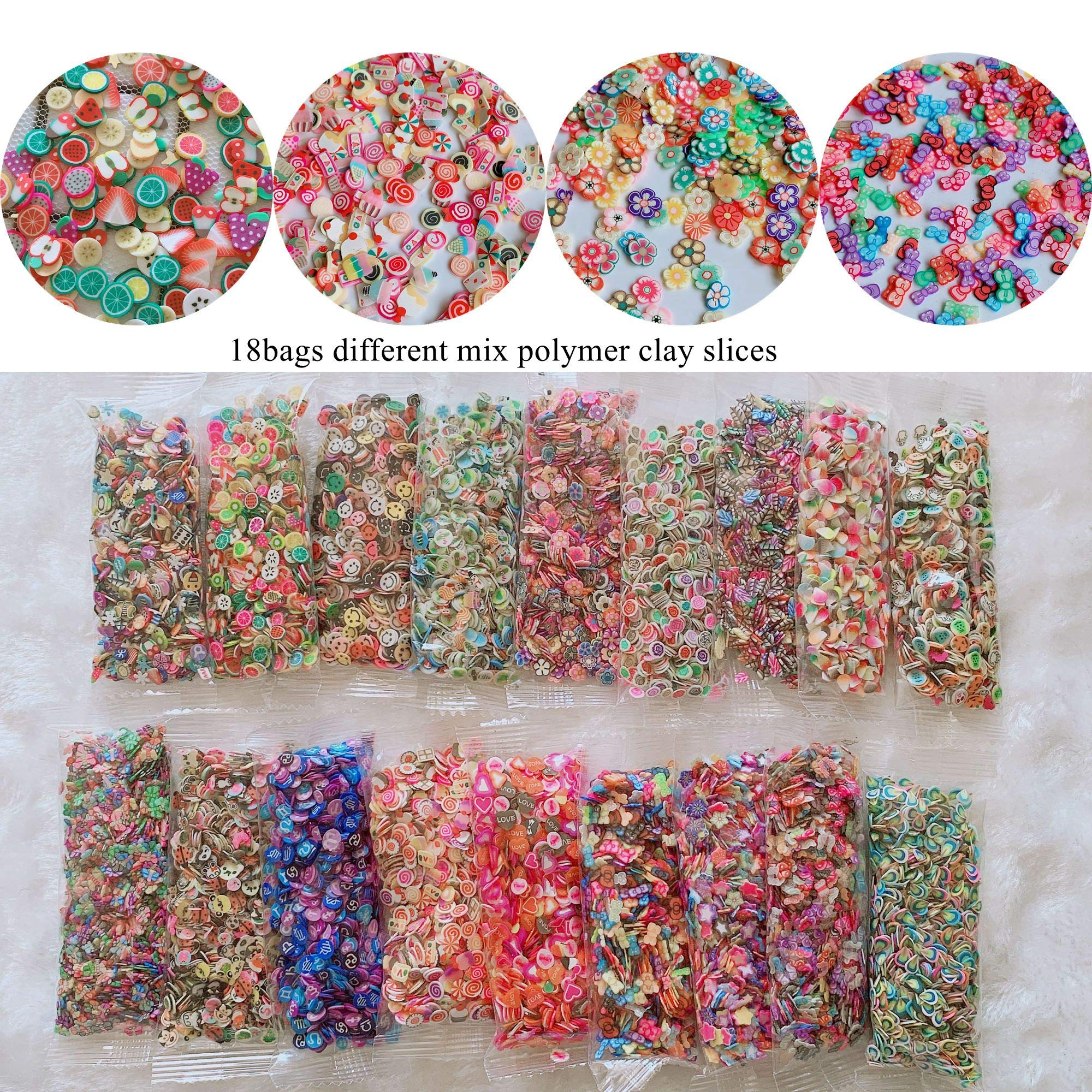 18bags Different Design Mix Bag Polymer Clay Slices Fruit Cake Flower Etc Shapes Mix 10051 by Nail Angel