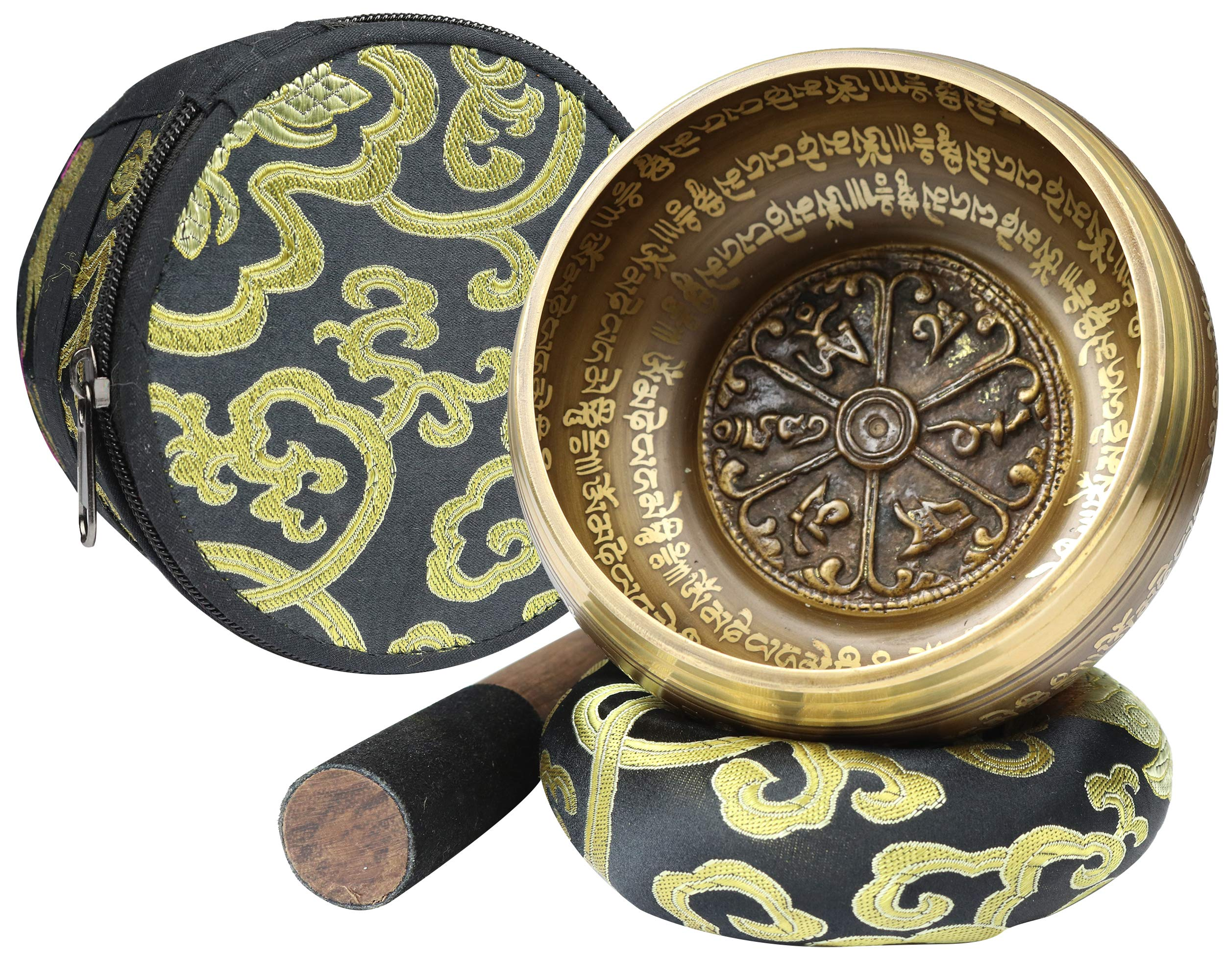 Tibetan Singing Bowl Set ~ Bronze Mantra Design ~ With Carry Case, Dual Surface Mallet, Silk Cushion, and FREE Meditation e-book ~ Promotes Peace, Chakra Healing, and Mindfulness