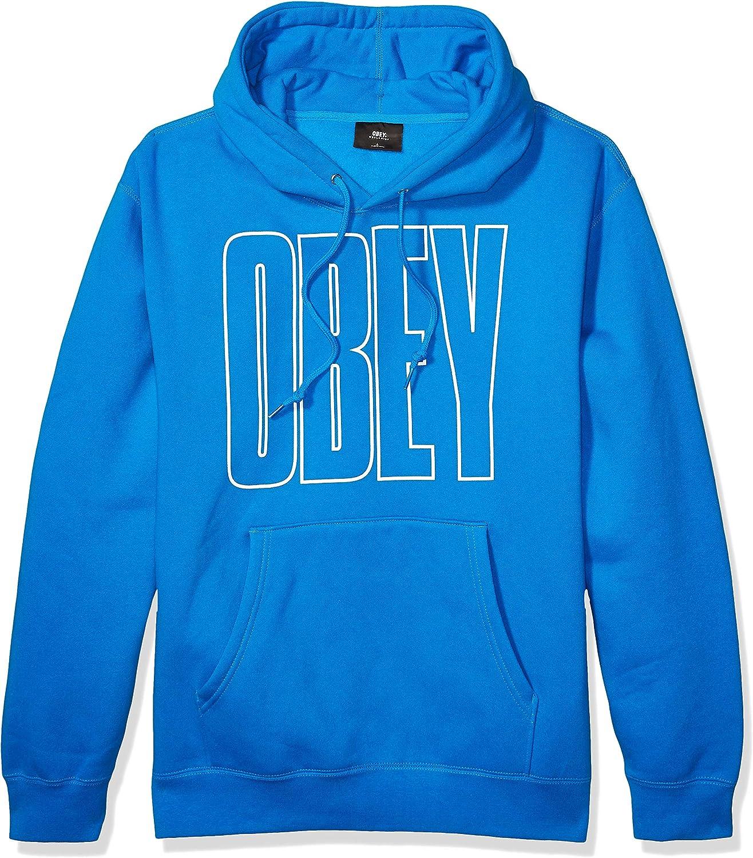 Obey Mens Worldwide Line Box Fit Hooded Fleece Hooded Sweatshirt