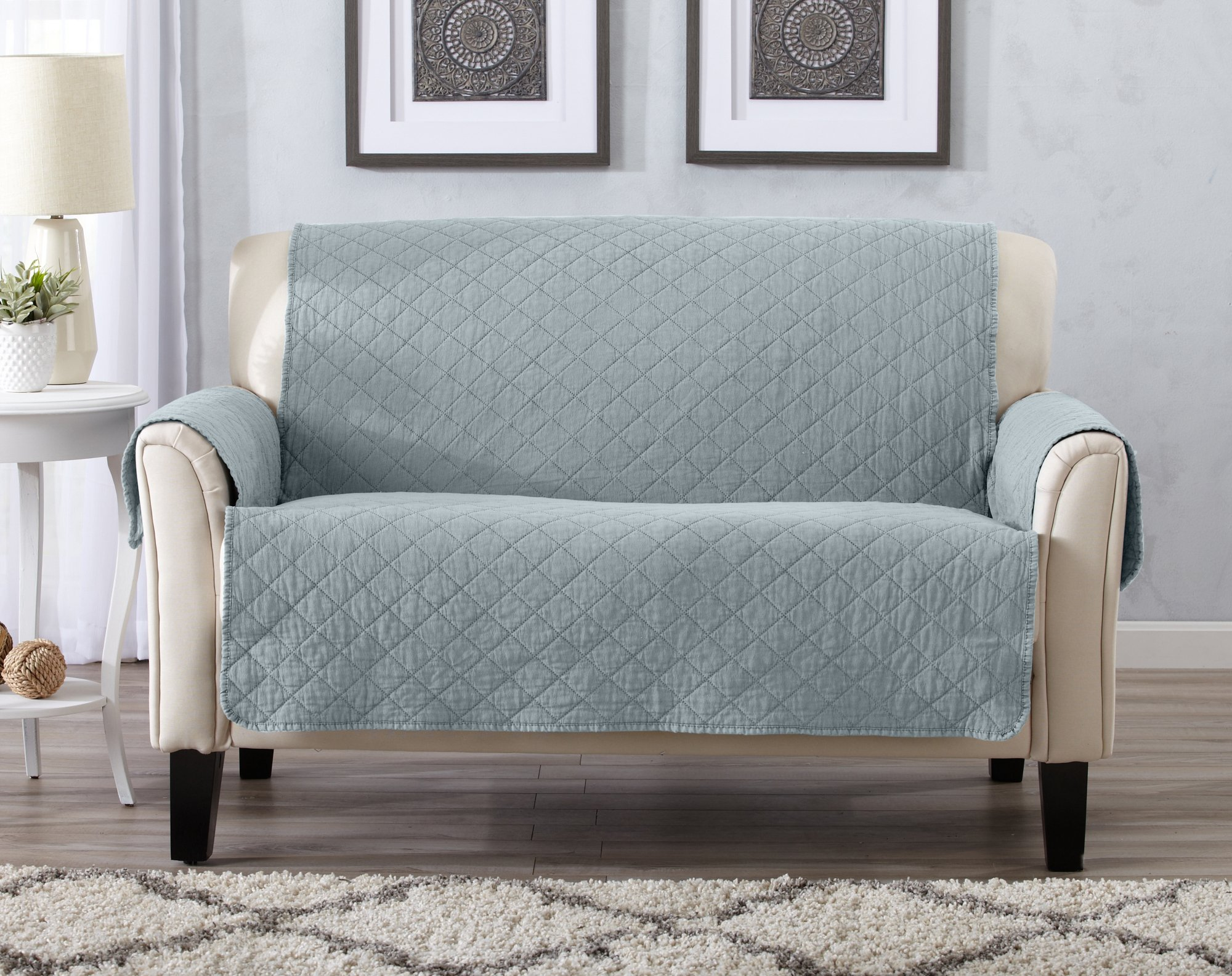 Deluxe Stonewashed Stain Resistant Furniture Protector in Solid Colors. Laurina Collection By Great Bay Home Brand. (Loveseat, Blue Dust)72'' x 88'' by Great Bay Home