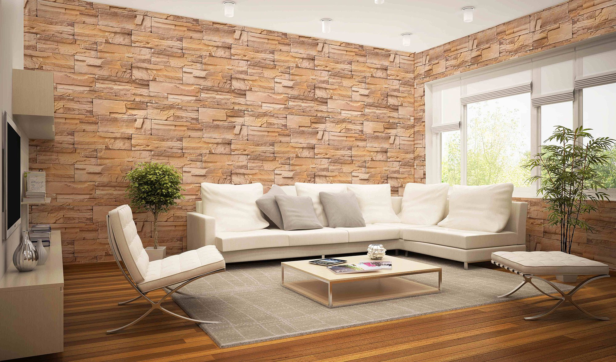 DecoProducts Madrid Bronze Stone Peel and Stick 3D Effect Self Adhesive DIY Wallpaper 16.4ft. L x W 23.6 in. Roll by DecoProducts