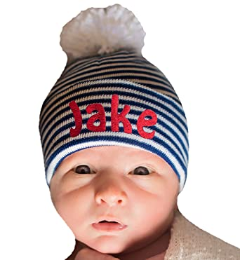 0911a45d1103c Image Unavailable. Image not available for. Color  Melondipity Baby Pom Pom Hat  Newborn Boy Hospital Hat Navy and White Striped Personalized